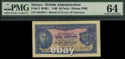 Conseil Des Commissaires De La Monnaie Malaisienne. Kgvi 10c #p2, Pmg 64 Choix Unc 1940