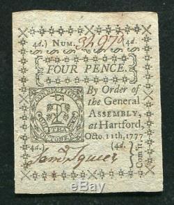 Ct-216 11 Octobre 1777 4p Quatre Sous Connecticut Colonial Monnaie Note Unc