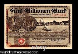 Danzig Pologne 5000000 Marks P30 1923 Unc Allemagne Millions Rare Devise Billnote