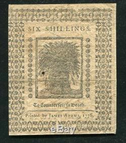 De-78 1er Janvier 1776 6s Six Shillings Delaware Monnaie Coloniale Sur L'unc