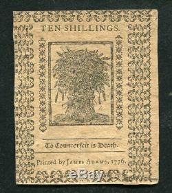 De-79 Le 1er Janvier 1776 10s DIX Shillings Delaware Monnaie Coloniale Unc