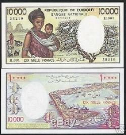 Djibouti 10000 Francs P39a 1984 Ship Tresorier Sign Unc Rare Afrique Monnaie Bil