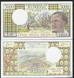 Djibouti 5000 Francs P38 D 1979 Navire Dernier Signe Unc Monnaie Argent Bill Billets De Banque