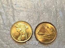 Egypt Unc Bill 5p 1940 Argent 2p 1321 Cléopâtre Pyramide Timbre De Pièce Pyramide 1888