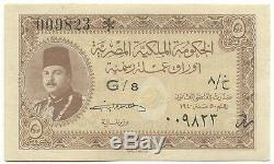 Égypte Monnaie Égyptienne 5 Piastres 1940 P165a Préfixe Farouk G / 8 Unc Mohamed Sig