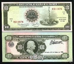 El Salvador 100 Colones P137b 1988 Colon Monument V Unc Rare Monnaie Latino