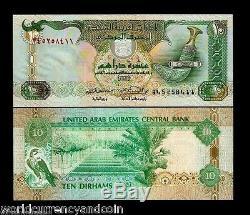 Émirats Arabes Unis 10 Dirhams P20 2001 Paire Épervier Unc Monnaie Argent