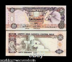 Émirats Arabes Unis 50 Dirham P14 1995 Oryx Unc Sparrowhawk Monnaie Argent Bill