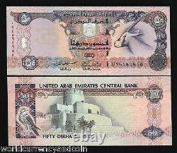 Émirats Arabes Unis 50 Dirhams P22 1998 Oryx Unc Sparowhawk Monnaie Argent Bill