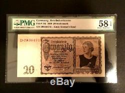 Era Seconde Guerre Mondiale Historique Antique 20 Reichsmark 1939 Séquentiel Ensemble De 5 Pmg Unc Epq