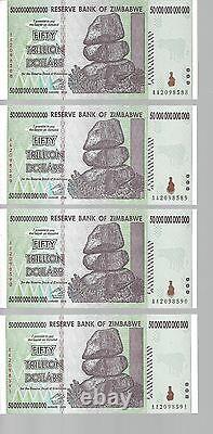 Erreur Bundle, 50 Billions Zimbabwe Dollar Argent Monnaie. Unc 10 20 100