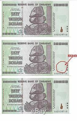 Erreur Dans Le Paquet, 50 Billions De Dollars En Monnaie Zimbabwéenne En Argent. 10 20 100