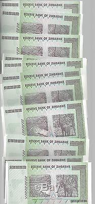 Erreur Sur Bundle, 50 Billions Zimbabwe Dollar Argent Monnaie. Unc 10 20 100