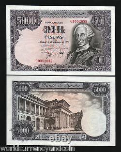 Espagne 5000 5 000 Pesetas P-155 1976 Euros King Carlos III Unc Monnaie Money Note
