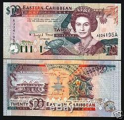 Est Etats De La Caraibe Antigua 20 Dollars P28a 1993 Queen Tortue Ship Unc Note