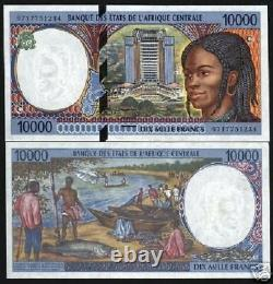 États Centrafrique Congo 10000 Francs P105c 1997 Navire Unc Monnaie