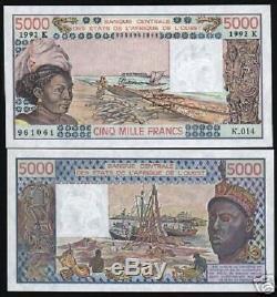 États D'afrique De L'ouest Sénégal 5000 Francs P708k 1992 Bateau Unc Currency Money Bill