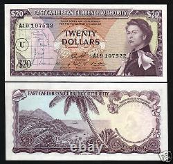 États Des Caraïbes Orientales 20 Dollars P15 1965 Ecs Queen Unc Boat Caribbean Bank Note