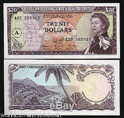 États Des Caraïbes Orientales 20 Dollars P15h 1965 Reine Unc Bateau Rare Monnaie Banknote