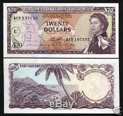 États Des Caraïbes Orientales 20 Dollars P15v 1965 Queen Boat Unc Caribbean Bank Note Royaume-uni