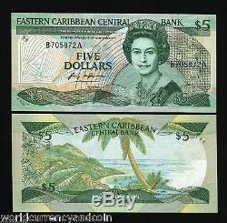 États Des Caraïbes Orientales 5 $ P22a1 1988 Reine Courir # Paire Unc Monnaie D'argent Remarque
