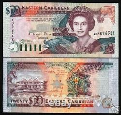 États Des Caraïbes Orientales Anguilla 20 Dollars P-28 U 1993 Queen Turtle Ship Unc Note