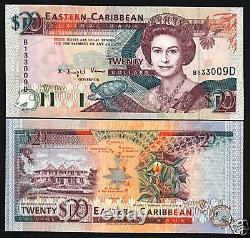 États Des Caraïbes Orientales Dominique 20 Dollars P28 D 1993 Reine Bateau De Tortue Unc Note