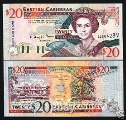 États Des Caraïbes Orientales St. Vincent 20 Dollar P33 V 1994 Queen Turtle Ship Unc Note