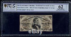États-unis 25 Cents 1863 Fractionnel Monnaie Pick # 109d Pcgs 62 Unc