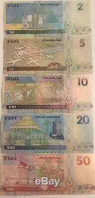 Fidji 2 50 Dollars 5 Pièces Banknote Set 2002 Unc Monnaie