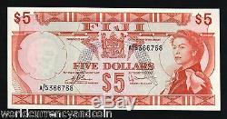 Fidji 5 Dollars P73 1974 Jeune Reine Unc Rare Monde Monnaie Billets Banknote
