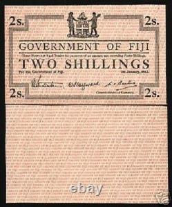 Fiji 2 Shillings P42 1942 Witho Numéro De Série Unc Rare Colony Currency Money Note