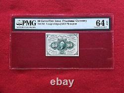 Fr-1242 Première Question Cent Fractional Frais De Ports 10c Devise Pmg 64 Epq Choix Unc