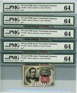 Fr. 1265 10c 5ème Numéro Bundle De Monnaie Fractionnaire Trou Lot De 5 Ch Unc64 Pmg