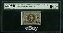 Fr. 1318 50c 50 Cents 2ème Question Fractional Currency Pmg 64 Epq Choix Unc Gem