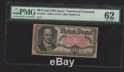 Fr. 1381 Fifty Cent 50c 5 E Numéro Fractional Currency Ch Unc 62 Pmg Noir Et Blanc