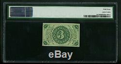 Fr. 3c 3 Cents 1227 3ème Edition Fractional Currency Pmg 64 Unc Choix Gem