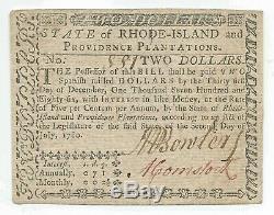 Fr Ri-283 $ 2 Rhode Island Colonial Monnaie 2 Juillet 1780 Gem Cu Uncirculated Unc