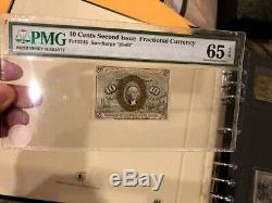 Fractional Currency 2ème Edition Fr 1245 10 ¢ Pmg Gem Unc 65 Epq Washington