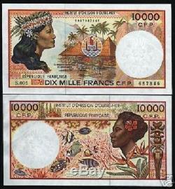 Français Du Pacifique Territoires 10000 Francs P4 B 1985 Poisson Unc Monnaie Argent Remarque