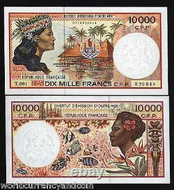 Français Territoire Du Pacifique 10000 10 000 Francs P4 1985 Fish Unc Currency Bill Note