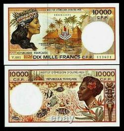 Français Territoires Du Pacifique 10000 Francs P-4 1985 Fish Unc 10,000 Currency Note