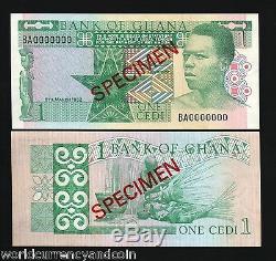 Ghana 1 Cedi P17 1982 Spécimen Man Weaving Rare Unc Bill Monde Monnaie Note