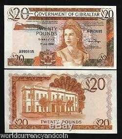 Gibraltar 20 Livres P-23 1986 Reine Gouverneur Unc Rare Monnaie Royaume-uni GB Bank Note