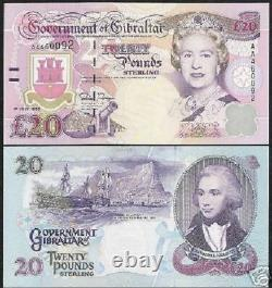 Gibraltar 20 Livres P-27 1995 Queen Boat Cannon Bird Unc Currency Bank Note