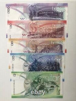 Gibraltar 5 100 Livres Banknote Set 2010-11 Unc Monnaie