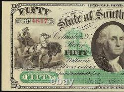 Grand 1872 $50 Dollar Bill South Carolina Note Big Currency Old Paper Money Unc
