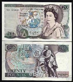Grande-bretagne 20 Livres P380 E Reine Shakespeare Unc Rare Argent Bill Bank Note