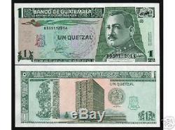 Guatemala 1 Quetzal P87 1995 Bundle Pack Unc 100 Pcs Billets Billet De Banque