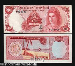 Îles Caïmans $10 P7 1974 GB Uk Queen Conch Unc Monnaie Money Bill Rare Note